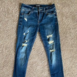 Express Stretch  Mid Rise Distressed Jean
